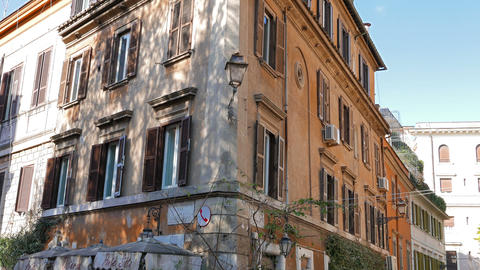 House on Via Di Ponte Sisto. Rome, Italy - February 18, 2015: The historic city  Footage
