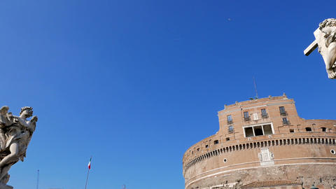 Sculpture and the Castle of San Angelo. Rome, ItalyCastle San Angelo. Rome, Ital Live Action