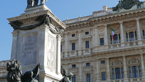 Camillo Benso di Cavour monument and Palace of Justice. Rome, Italy Footage