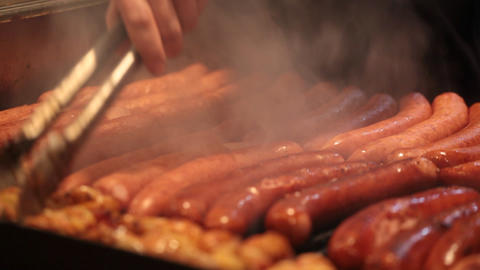 Sausages Are Fried On A Lattice stock footage