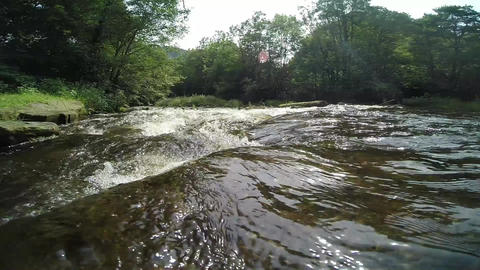 Camera Placed In A Running River/lake stock footage