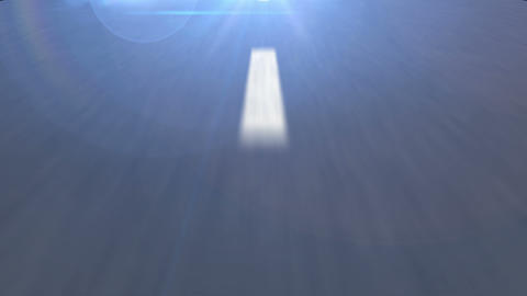 White dotted line on the Asphalt road in perspective view Animation