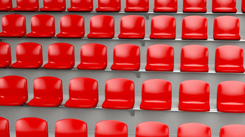 Red plastic seats at the stadium Animation