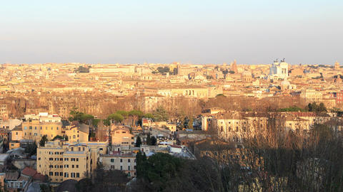 Center of Rome at sunset. Rome, Italy Live Action