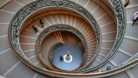 Spiral Staircase. VATICAN - February 19, 2015: famous double spiral staircase at Footage