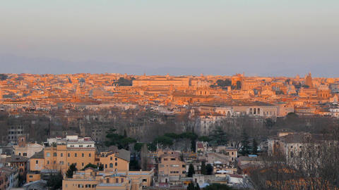 Panorama of Rome at sunset. View from Passeggiata del Gianicolo. Rome, Italy Live Action