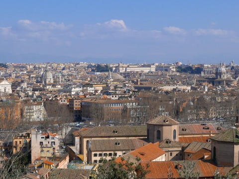 Panorama of Rome. View from Passeggiata del Gianikolo. Rome, Italy. 640x480 Live Action