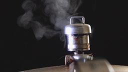 Pressure Cooker Releasing Steam,black Background stock footage