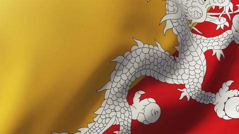 Bhutan flag waving in the wind. Looping sun rises style. Animation loop Animation
