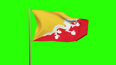 Bhutan flag with cloud waving in the wind. Green screen, alpha matte. Loopable a CG動画