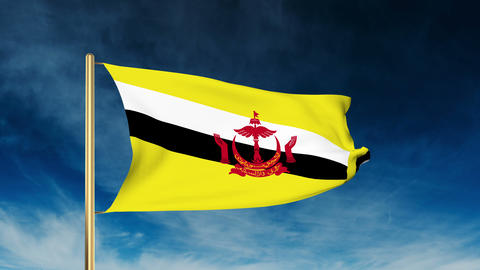 Brunei flag slider style. Waving in the wind with cloud background animation Animation