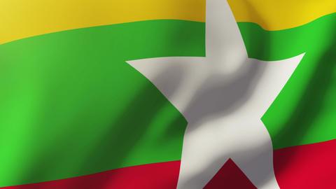 Burma Flag Waving In The Wind. Looping Sun Rises Style. Animation Loop stock footage