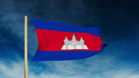 Cambodia flag slider style. Waving in the wind with cloud background animation Animation