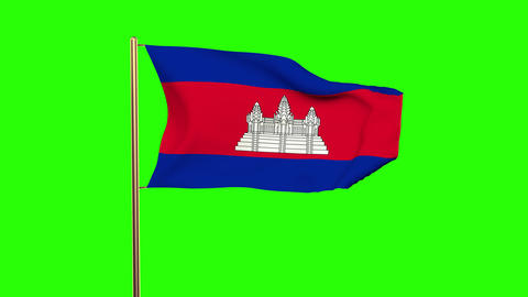 Cambodia flag with cloud waving in the wind. Green screen, alpha matte. Loopable Animation
