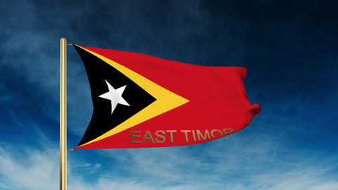 East Timor flag slider style with title. Waving in the wind with cloud backgroun Animation