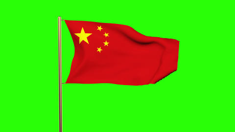 China flag with cloud waving in the wind. Green screen, alpha matte. Loopable an Animation