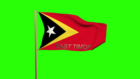 East Timor flag with title waving in the wind. Looping sun rises style. Animatio Animation