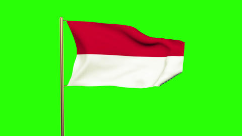 Indonesia flag with cloud waving in the wind. Green screen, alpha matte. Loopabl Animation