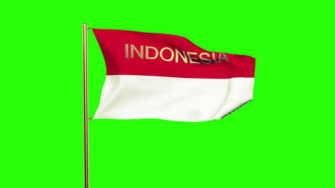Indonesia flag with title waving in the wind. Looping sun rises style. Animation Animation