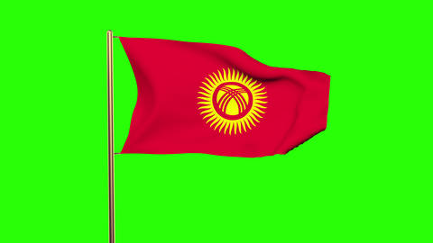 Kyrgyzstan flag with cloud waving in the wind. Green screen, alpha matte. Loopab Animation
