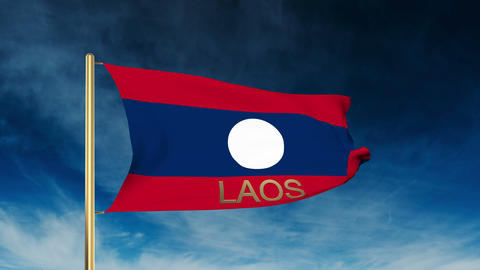 Laos flag slider style with title. Waving in the wind with cloud background anim Animation
