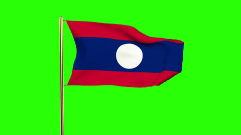 Laos flag with cloud waving in the wind. Green screen, alpha matte. Loopable ani Animation