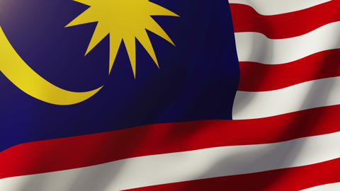 Malaysia flag waving in the wind. Looping sun rises style. Animation loop Animation