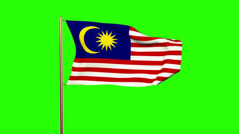 Malaysia flag with cloud waving in the wind. Green screen, alpha matte. Loopable Animation