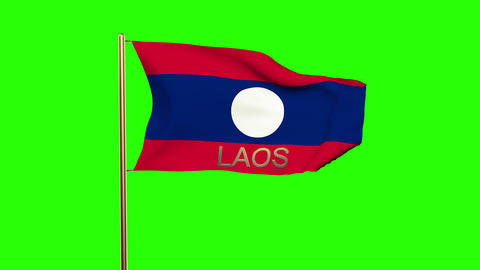 Laos flag with title waving in the wind. Looping sun rises style. Animation loop Animation