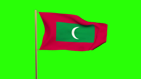 Maldives flag with cloud waving in the wind. Green screen, alpha matte. Loopable Animation