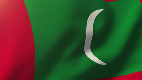 Maldives flag waving in the wind. Looping sun rises style. Animation loop Animation
