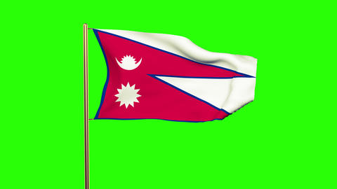 Nepal flag with cloud waving in the wind. Green screen, alpha matte. Loopable an Animation