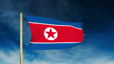 North Korea flag slider style. Waving in the wind with cloud background animatio Animation