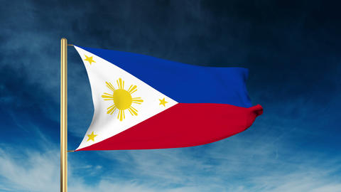 Philippines flag slider style. Waving in the wind with cloud background animatio Animation