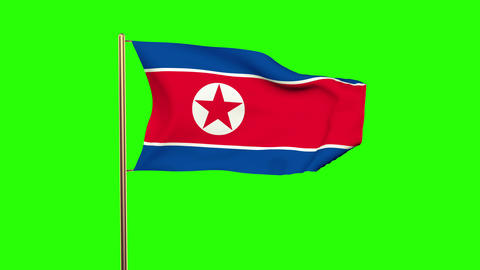 North Korea flag with cloud waving in the wind. Green screen, alpha matte. Loopa Animation