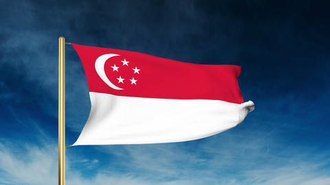 Singapore flag slider style. Waving in the wind with cloud background animation Animation