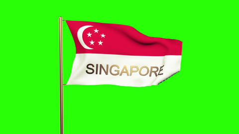 Singapore flag with title waving in the wind. Looping sun rises style. Animation Animation