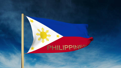 Philippines flag slider style with title. Waving in the wind with cloud backgrou Animation