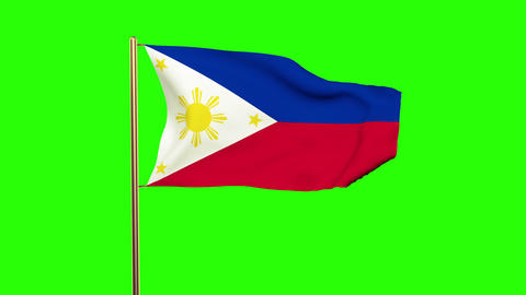 Philippines flag with cloud waving in the wind. Green screen, alpha matte. Loopa Animation