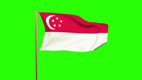 Singapore flag with cloud waving in the wind. Green screen, alpha matte. Loopabl Animation