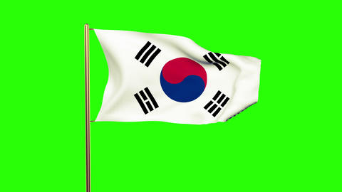 South Korea flag with cloud waving in the wind. Green screen, alpha matte. Loopa Animation