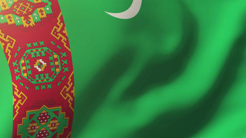 Turkmenistan flag waving in the wind. Looping sun rises style. Animation loop Footage