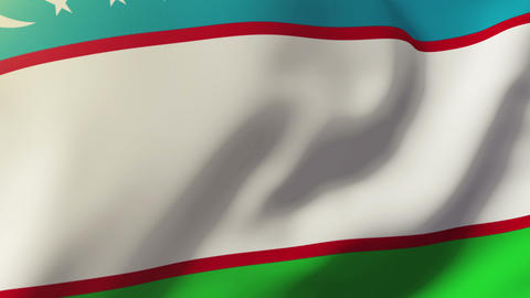 Uzbekistan flag waving in the wind. Looping sun rises style. Animation loop Footage
