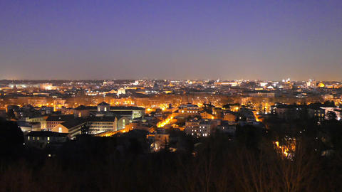 Rome by night. Panorama. Italy Live Action