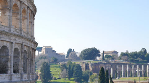 Palatine Hill and the Colosseum. Rome, Italy Footage