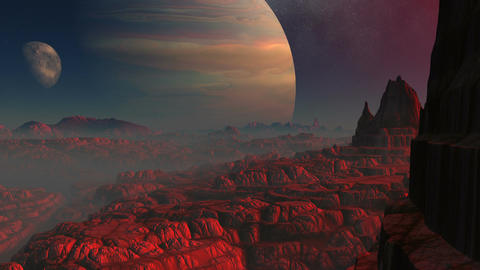 Gas giant, moon and the red planet, Stock Animation