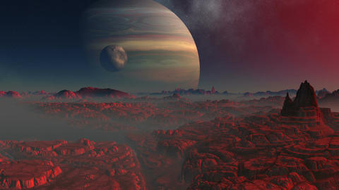 Gas giant, moon and the red planet Animation