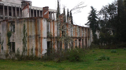 Abandoned Building in Garden 3 Footage