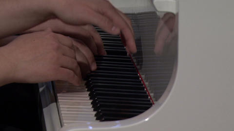 Hands Playing white Grand Piano with sound Footage