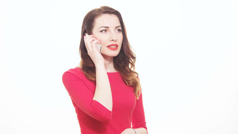 Pretty Woman In Red Clothes Answering Mobile Phone Disappointed Unhappy Reaction stock footage